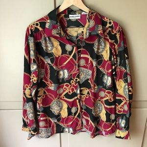 Alfred Dunner Vintage Chain & Rope Pattern Blouse